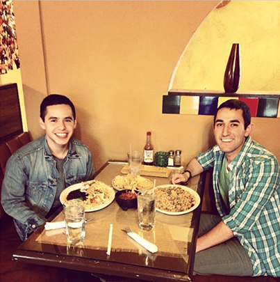 """David enjoyed a delicious meal at the Casa Vieja restaurant. He went with Jacob Escobar, a songwriter. They got to write a Spanish song together!!!"""