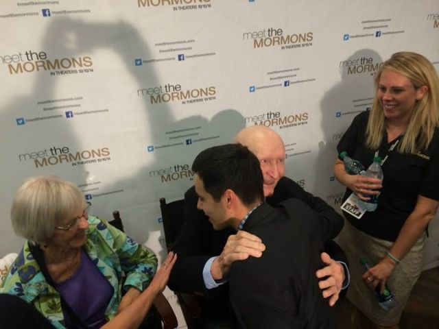 """Gail Halvorsen sees David Archuleta and immediately gives him a hug. We love these guys! Gail you might recall is the Candybomber, and was also featured in the Mormon Tabernacle Choir's Christmas Concert in 2012, and last year published his children's book 'Christmas From Heaven.'"""